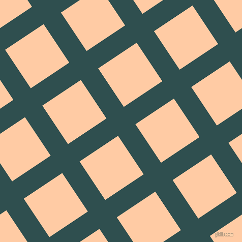 34/124 degree angle diagonal checkered chequered lines, 41 pixel lines width, 91 pixel square size, Dark Slate Grey and Peach plaid checkered seamless tileable