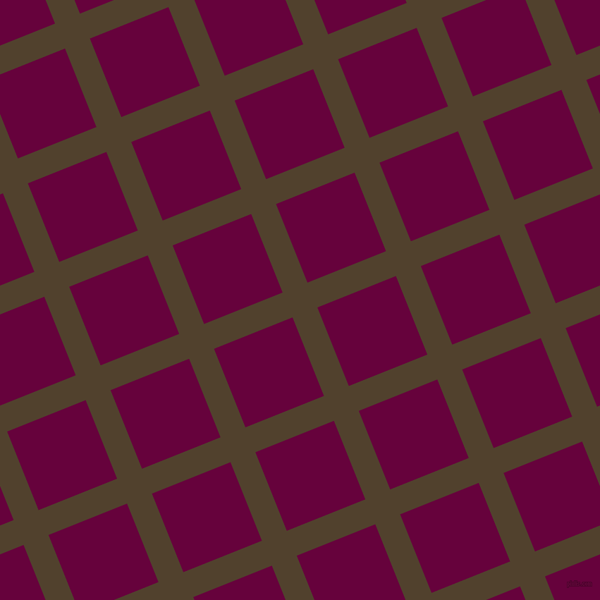 22/112 degree angle diagonal checkered chequered lines, 38 pixel line width, 120 pixel square size, Deep Bronze and Tyrian Purple plaid checkered seamless tileable