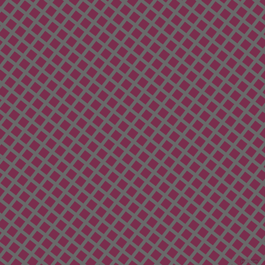 52/142 degree angle diagonal checkered chequered lines, 7 pixel lines width, 17 pixel square size, Dim Gray and Flirt plaid checkered seamless tileable
