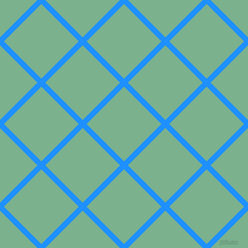 45/135 degree angle diagonal checkered chequered lines, 11 pixel lines width, 104 pixel square size, Dodger Blue and Bay Leaf plaid checkered seamless tileable