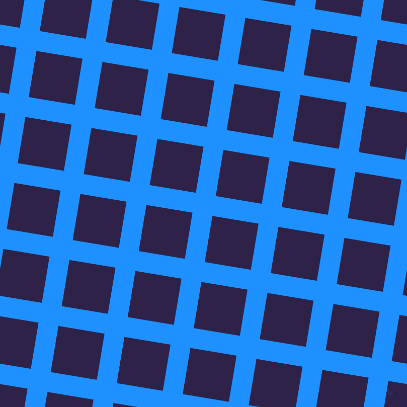 81/171 degree angle diagonal checkered chequered lines, 40 pixel line width, 93 pixel square size, Dodger Blue and Violent Violet plaid checkered seamless tileable