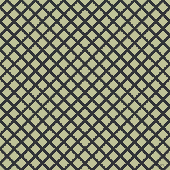 45/135 degree angle diagonal checkered chequered lines, 9 pixel lines width, 25 pixel square size, Ebony and Green Mist plaid checkered seamless tileable