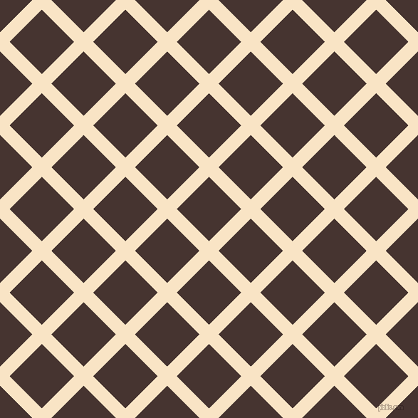 45/135 degree angle diagonal checkered chequered lines, 19 pixel line width, 64 pixel square size, Egg Sour and Cedar plaid checkered seamless tileable