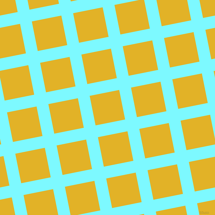 11/101 degree angle diagonal checkered chequered lines, 42 pixel line width, 105 pixel square size, Electric Blue and Gold Tips plaid checkered seamless tileable