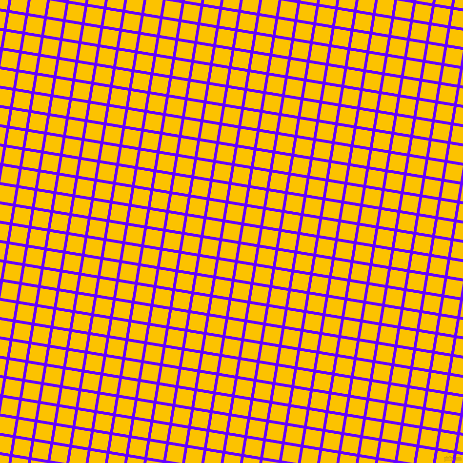 81/171 degree angle diagonal checkered chequered lines, 6 pixel lines width, 33 pixel square size, Electric Indigo and Golden Poppy plaid checkered seamless tileable