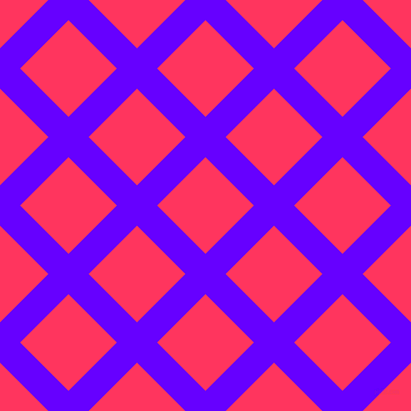 45/135 degree angle diagonal checkered chequered lines, 40 pixel line width, 96 pixel square size, Electric Indigo and Radical Red plaid checkered seamless tileable