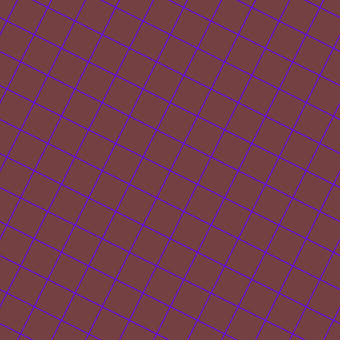 63/153 degree angle diagonal checkered chequered lines, 2 pixel lines width, 60 pixel square size, Electric Indigo and Tosca plaid checkered seamless tileable