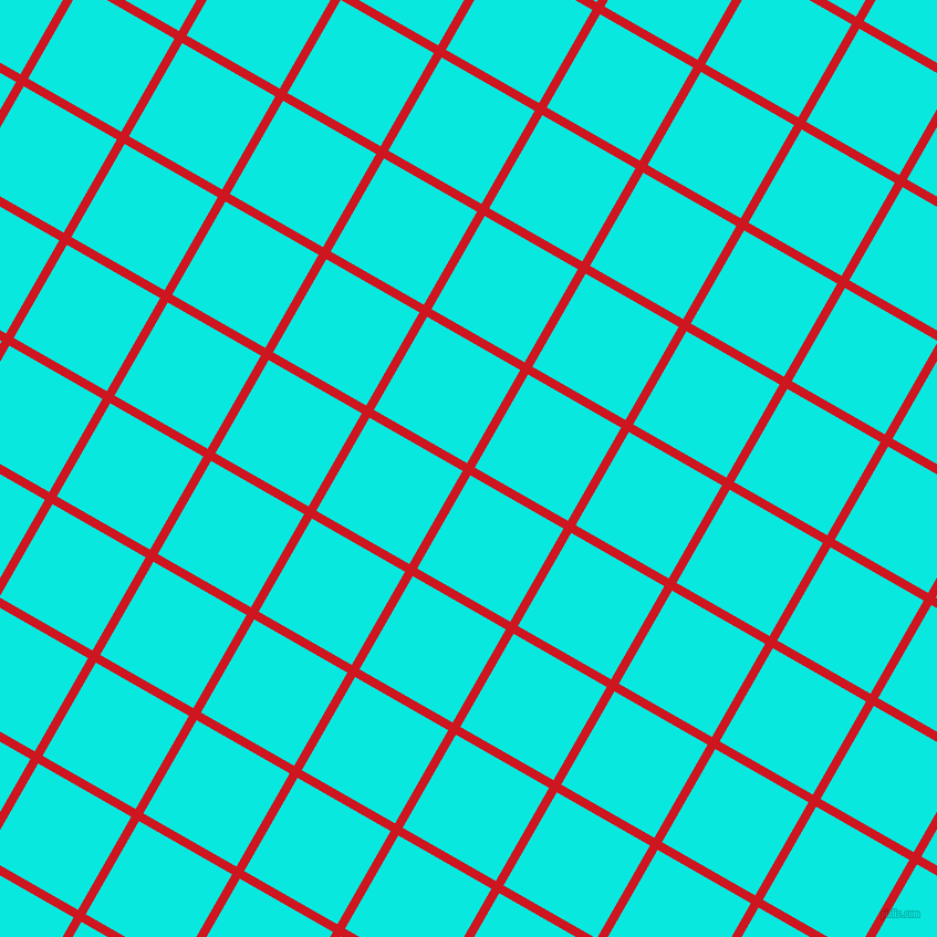 60/150 degree angle diagonal checkered chequered lines, 8 pixel line width, 97 pixel square size, Fire Engine Red and Bright Turquoise plaid checkered seamless tileable