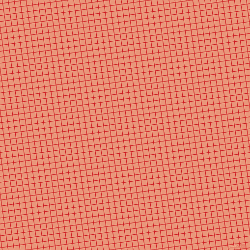 8/98 degree angle diagonal checkered chequered lines, 1 pixel lines width, 11 pixel square size, Fire Engine Red and Dark Salmon plaid checkered seamless tileable