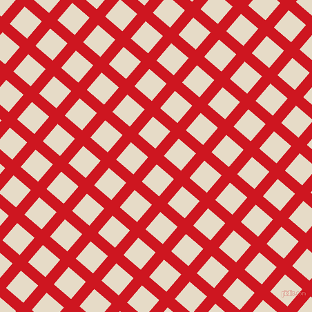 49/139 degree angle diagonal checkered chequered lines, 16 pixel lines width, 33 pixel square size, Fire Engine Red and Half Spanish White plaid checkered seamless tileable
