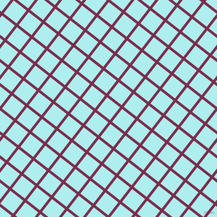 52/142 degree angle diagonal checkered chequered lines, 9 pixel lines width, 55 pixel square size, Flirt and Pale Turquoise plaid checkered seamless tileable