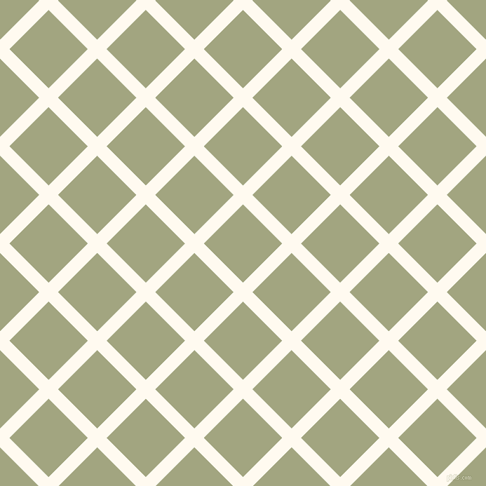 45/135 degree angle diagonal checkered chequered lines, 19 pixel line width, 79 pixel square size, Floral White and Locust plaid checkered seamless tileable