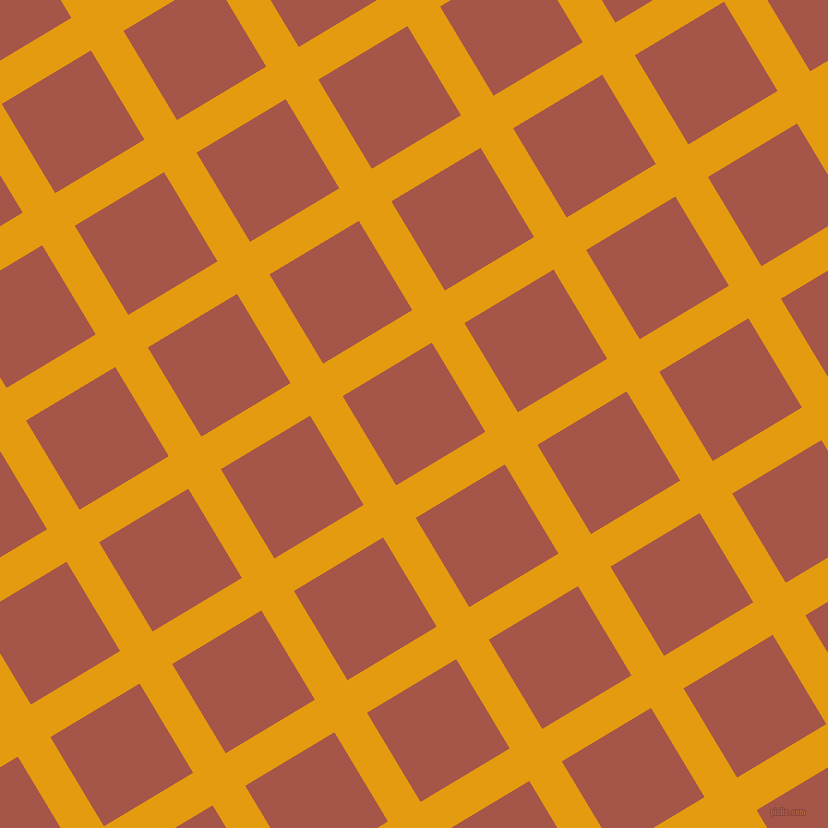 31/121 degree angle diagonal checkered chequered lines, 38 pixel lines width, 104 pixel square size, Gamboge and Crail plaid checkered seamless tileable