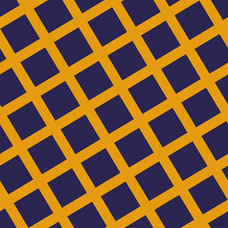 31/121 degree angle diagonal checkered chequered lines, 34 pixel lines width, 97 pixel square size, Gamboge and Paua plaid checkered seamless tileable