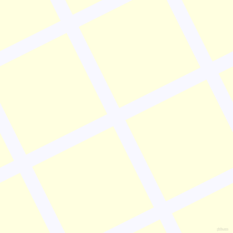 27/117 degree angle diagonal checkered chequered lines, 43 pixel line width, 289 pixel square size, Ghost White and Light Yellow plaid checkered seamless tileable