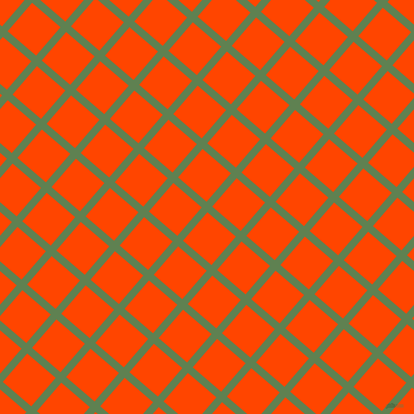 49/139 degree angle diagonal checkered chequered lines, 15 pixel lines width, 76 pixel square size, Glade Green and Orange Red plaid checkered seamless tileable