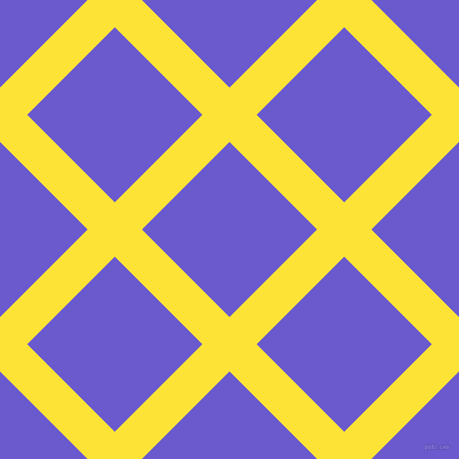 45/135 degree angle diagonal checkered chequered lines, 54 pixel lines width, 174 pixel square size, Gorse and Slate Blue plaid checkered seamless tileable