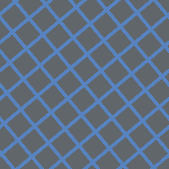 40/130 degree angle diagonal checkered chequered lines, 12 pixel line width, 63 pixel square size, Havelock Blue and Shuttle Grey plaid checkered seamless tileable