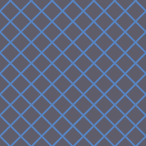 45/135 degree angle diagonal checkered chequered lines, 6 pixel line width, 43 pixel square size, Havelock Blue and Smoky plaid checkered seamless tileable