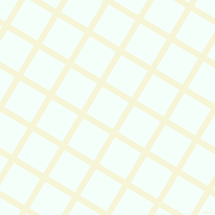59/149 degree angle diagonal checkered chequered lines, 20 pixel lines width, 102 pixel square size, Hint Of Yellow and Mint Cream plaid checkered seamless tileable