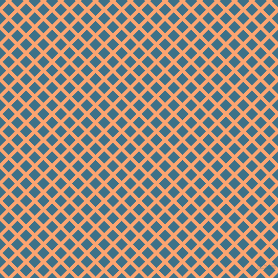 45/135 degree angle diagonal checkered chequered lines, 7 pixel lines width, 17 pixel square size, Hit Pink and Calypso plaid checkered seamless tileable
