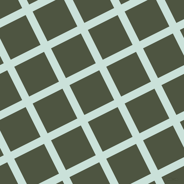 27/117 degree angle diagonal checkered chequered lines, 27 pixel line width, 115 pixel square size, Iceberg and Lunar Green plaid checkered seamless tileable