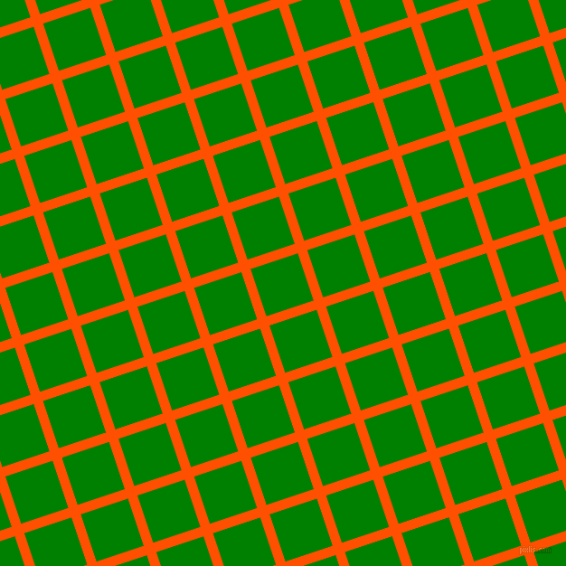 18/108 degree angle diagonal checkered chequered lines, 11 pixel line width, 55 pixel square size, International Orange and Green plaid checkered seamless tileable
