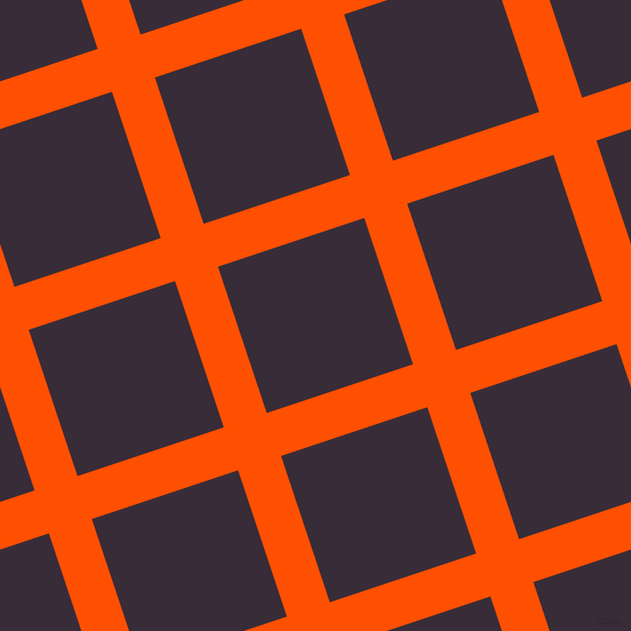 18/108 degree angle diagonal checkered chequered lines, 64 pixel line width, 218 pixel square size, International Orange and Valentino plaid checkered seamless tileable