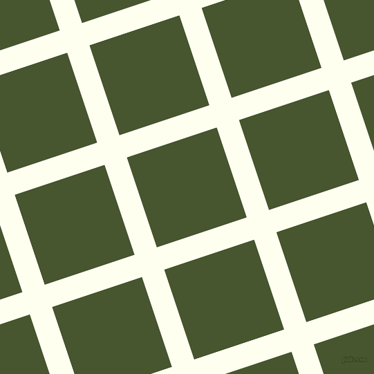 18/108 degree angle diagonal checkered chequered lines, 34 pixel line width, 137 pixel square size, Ivory and Clover plaid checkered seamless tileable