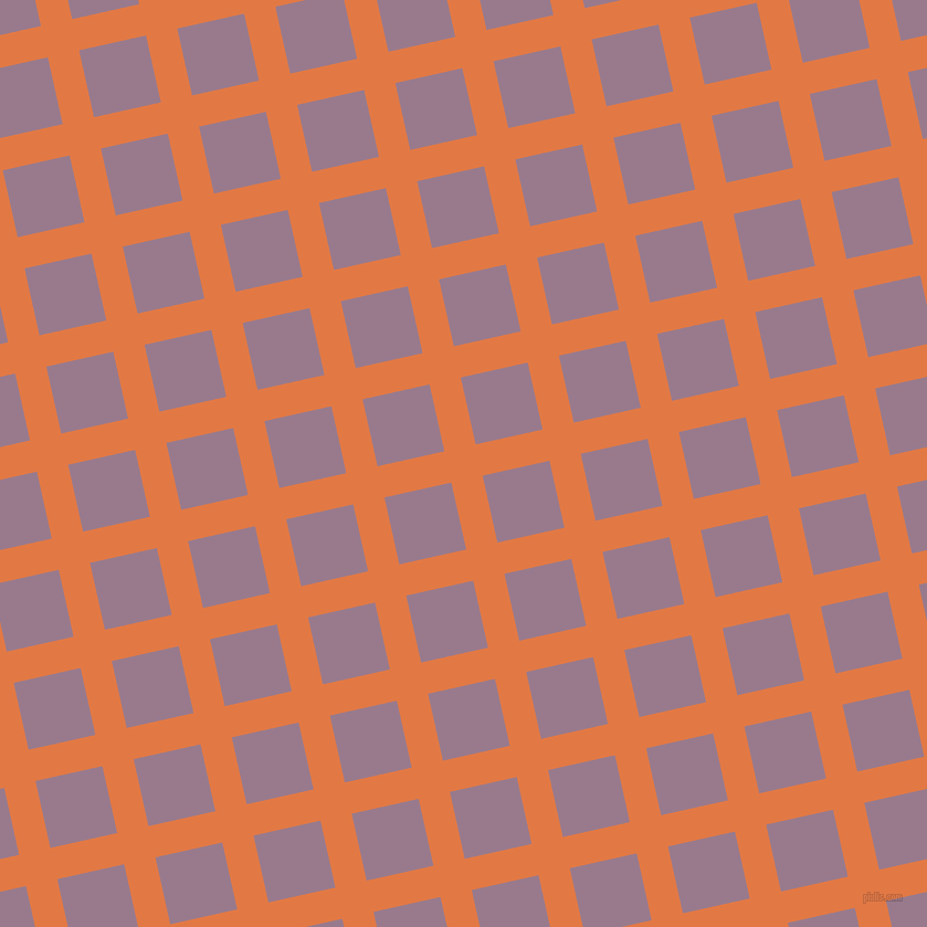13/103 degree angle diagonal checkered chequered lines, 29 pixel line width, 62 pixel square size, Jaffa and Mountbatten Pink plaid checkered seamless tileable