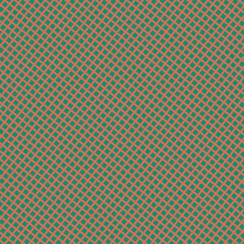 51/141 degree angle diagonal checkered chequered lines, 7 pixel line width, 15 pixel square size, Japonica and Elf Green plaid checkered seamless tileable
