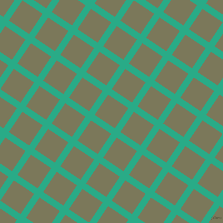 56/146 degree angle diagonal checkered chequered lines, 21 pixel line width, 78 pixel square size, Jungle Green and Kokoda plaid checkered seamless tileable