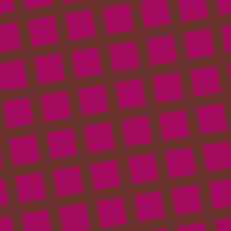 9/99 degree angle diagonal checkered chequered lines, 37 pixel lines width, 86 pixel square size, Kenyan Copper and Jazzberry Jam plaid checkered seamless tileable