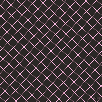 48/138 degree angle diagonal checkered chequered lines, 2 pixel line width, 28 pixel square size, Lavender Pink and Bokara Grey plaid checkered seamless tileable