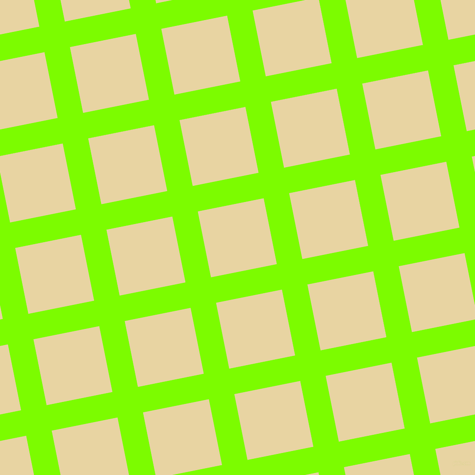 11/101 degree angle diagonal checkered chequered lines, 53 pixel line width, 137 pixel square size, Lawn Green and Hampton plaid checkered seamless tileable
