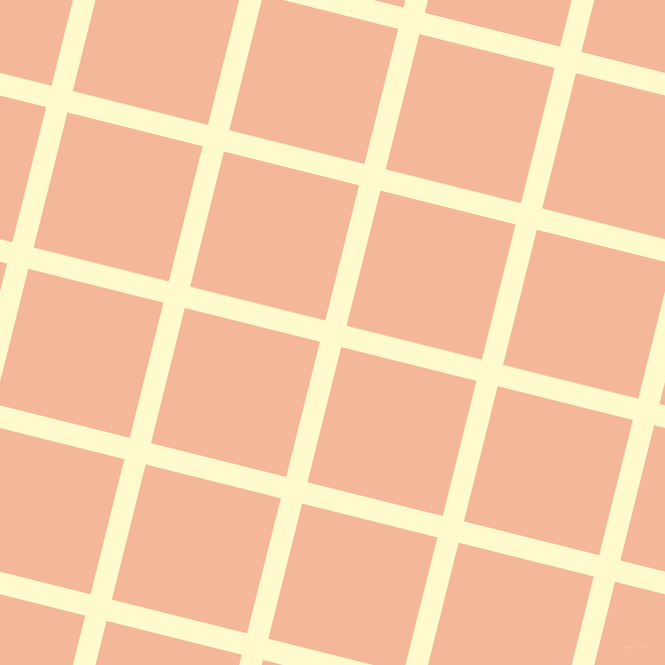 76/166 degree angle diagonal checkered chequered lines, 31 pixel lines width, 197 pixel square size, Lemon Chiffon and Mandys Pink plaid checkered seamless tileable