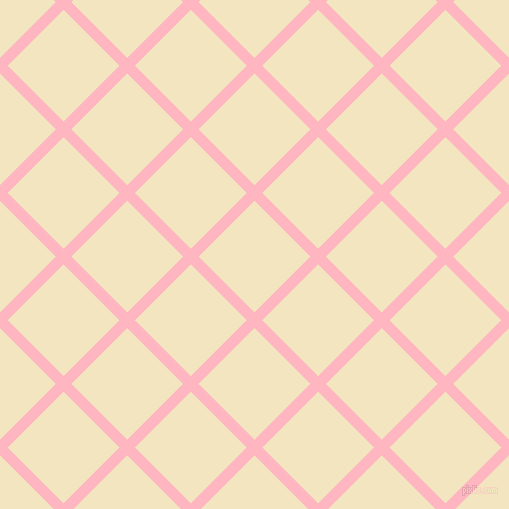 45/135 degree angle diagonal checkered chequered lines, 11 pixel lines width, 79 pixel square size, Light Pink and Half Colonial White plaid checkered seamless tileable
