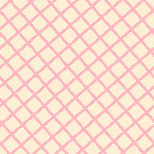41/131 degree angle diagonal checkered chequered lines, 11 pixel line width, 49 pixel square size, Light Pink and Varden plaid checkered seamless tileable