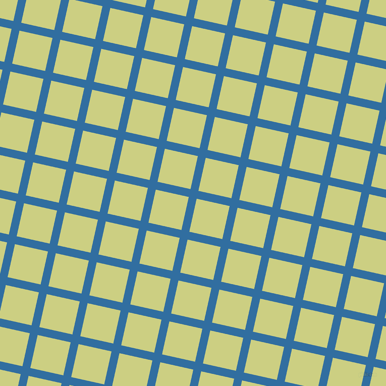77/167 degree angle diagonal checkered chequered lines, 16 pixel line width, 67 pixel square size, Lochmara and Deco plaid checkered seamless tileable