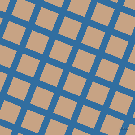 68/158 degree angle diagonal checkered chequered lines, 21 pixel lines width, 60 pixel square size, Lochmara and Rodeo Dust plaid checkered seamless tileable