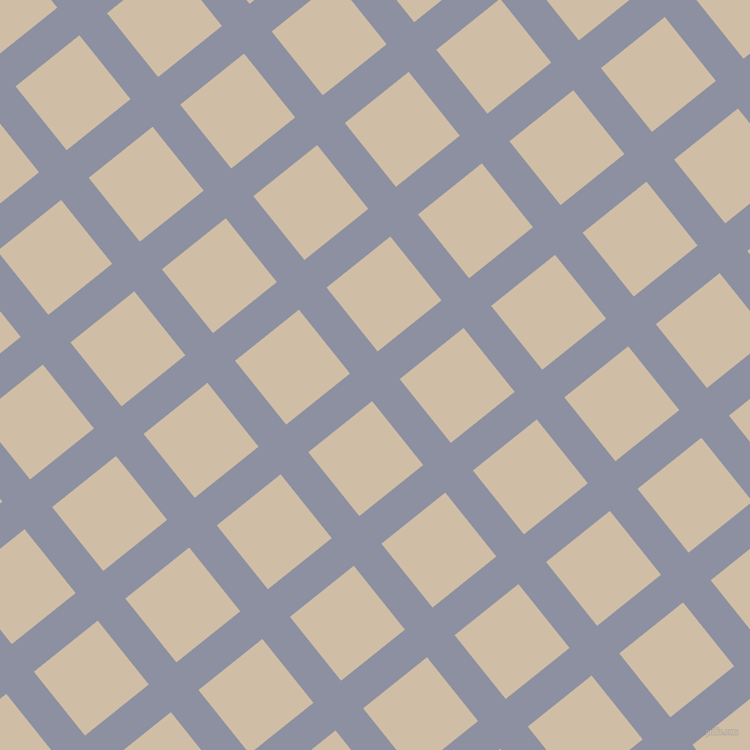 39/129 degree angle diagonal checkered chequered lines, 39 pixel lines width, 90 pixel square size, Manatee and Soft Amber plaid checkered seamless tileable
