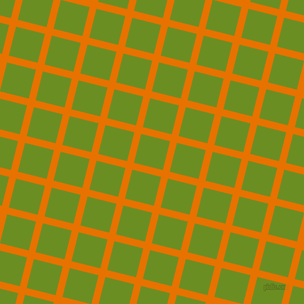 76/166 degree angle diagonal checkered chequered lines, 10 pixel lines width, 42 pixel square size, Mango Tango and Olive Drab plaid checkered seamless tileable