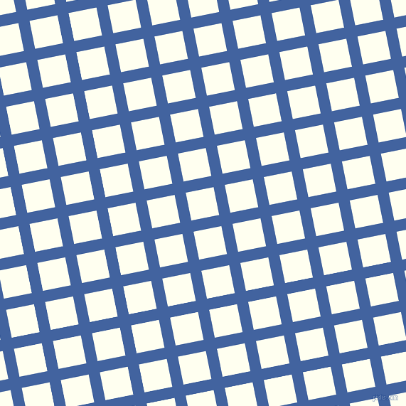 11/101 degree angle diagonal checkered chequered lines, 16 pixel lines width, 40 pixel square size, Mariner and Ivory plaid checkered seamless tileable