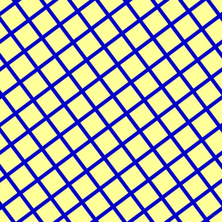 37/127 degree angle diagonal checkered chequered lines, 13 pixel lines width, 65 pixel square size, Medium Blue and Canary plaid checkered seamless tileable