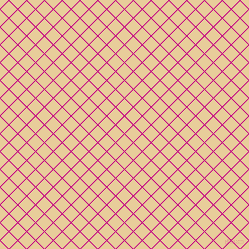 45/135 degree angle diagonal checkered chequered lines, 2 pixel lines width, 23 pixel square size, Medium Violet Red and Chamois plaid checkered seamless tileable