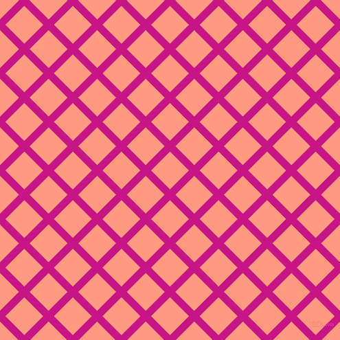 45/135 degree angle diagonal checkered chequered lines, 11 pixel lines width, 39 pixel square size, Medium Violet Red and Vivid Tangerine plaid checkered seamless tileable