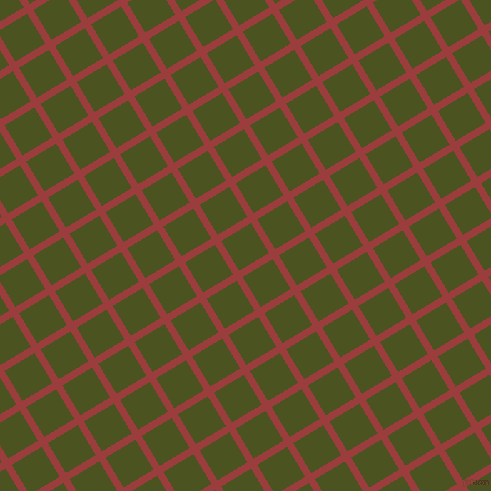 31/121 degree angle diagonal checkered chequered lines, 10 pixel lines width, 49 pixel square size, Mexican Red and Army green plaid checkered seamless tileable