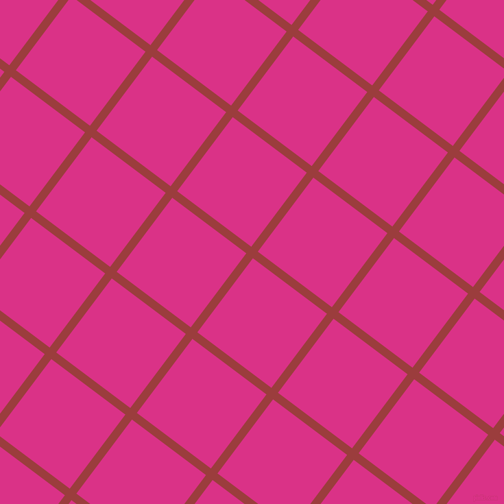 53/143 degree angle diagonal checkered chequered lines, 12 pixel line width, 135 pixel square size, Mexican Red and Deep Cerise plaid checkered seamless tileable