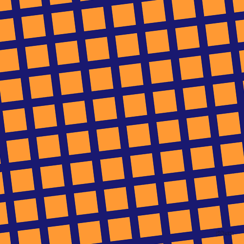 7/97 degree angle diagonal checkered chequered lines, 17 pixel lines width, 45 pixel square size, Midnight Blue and Neon Carrot plaid checkered seamless tileable