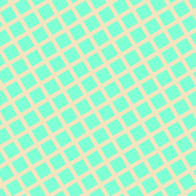 31/121 degree angle diagonal checkered chequered lines, 14 pixel line width, 42 pixel square size, Milk Punch and Aquamarine plaid checkered seamless tileable